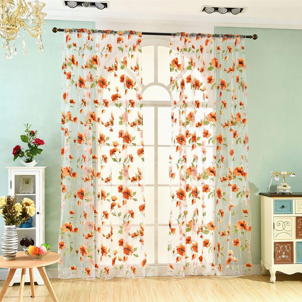 Romantic Bedroom Window Flower Pattern Sheer Curtain Room Divider