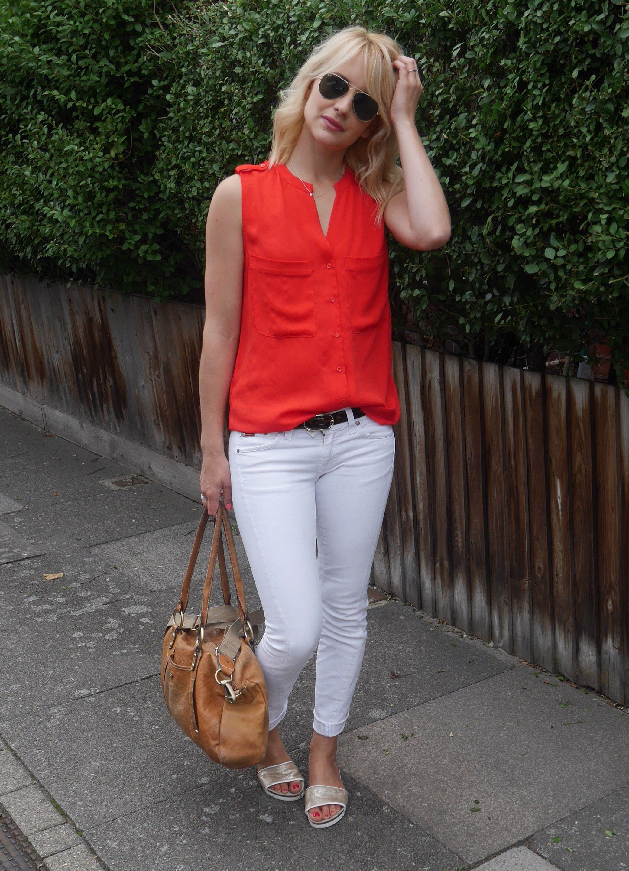 white pants; orange shirt | Calça Branca | Pinterest | Orange ...