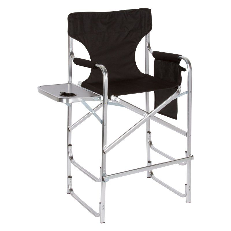 Captivating Trademark Innovation Tall Director Chair With Side Table   METALDIREC TALL  BL