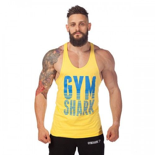 t shirt debardeur coton musculation fitness sport homme gym training workout jaune fitness. Black Bedroom Furniture Sets. Home Design Ideas
