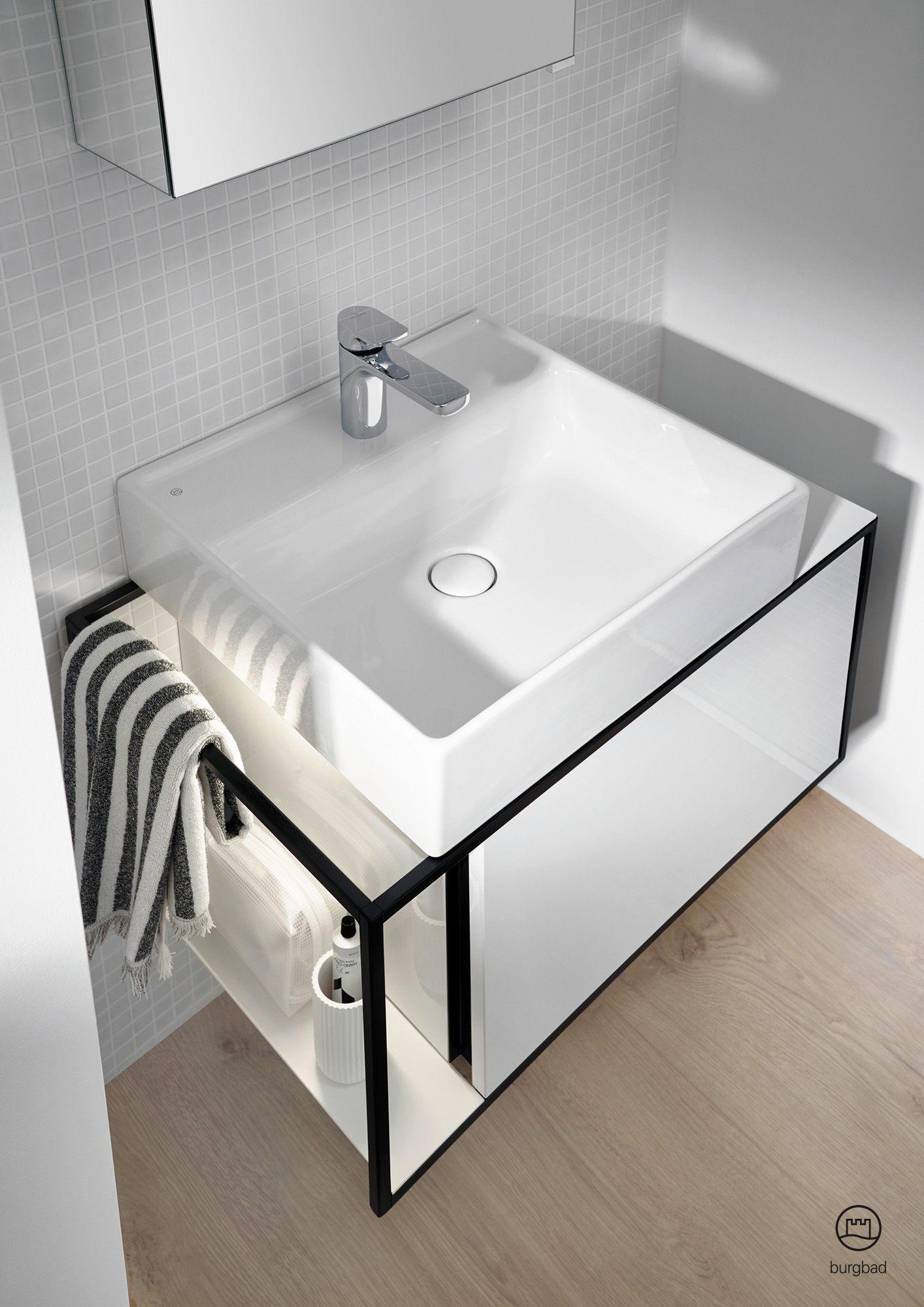 burgbad Junit   Ceramic washbasin with lighting of vanity unit   Badezimmer möbel, Waschtisch ...