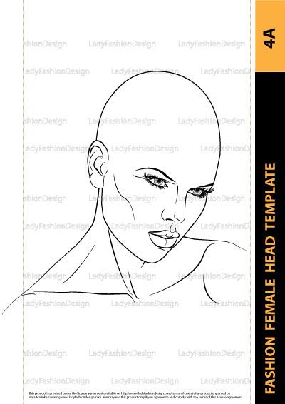Fashion Female Head Template For Fashion Hairstyle Jewelry Or Make Up Design Fashion Illustration Face Fashion Drawing How To Draw Hair