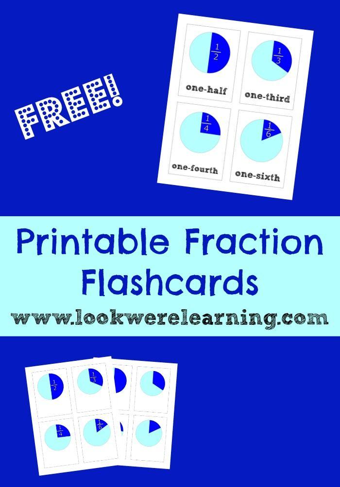 Printable Fraction Flashcards for Math Practice! | Homeschool, Maths ...