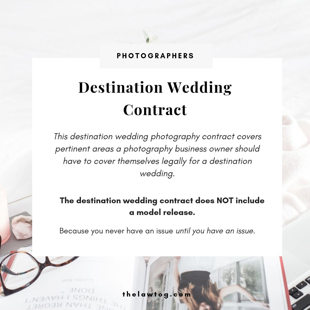 Destination Wedding Contract Wedding Photography Contract