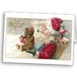 1913 Santa with Teddy Bear and Pipe Greeting Cards