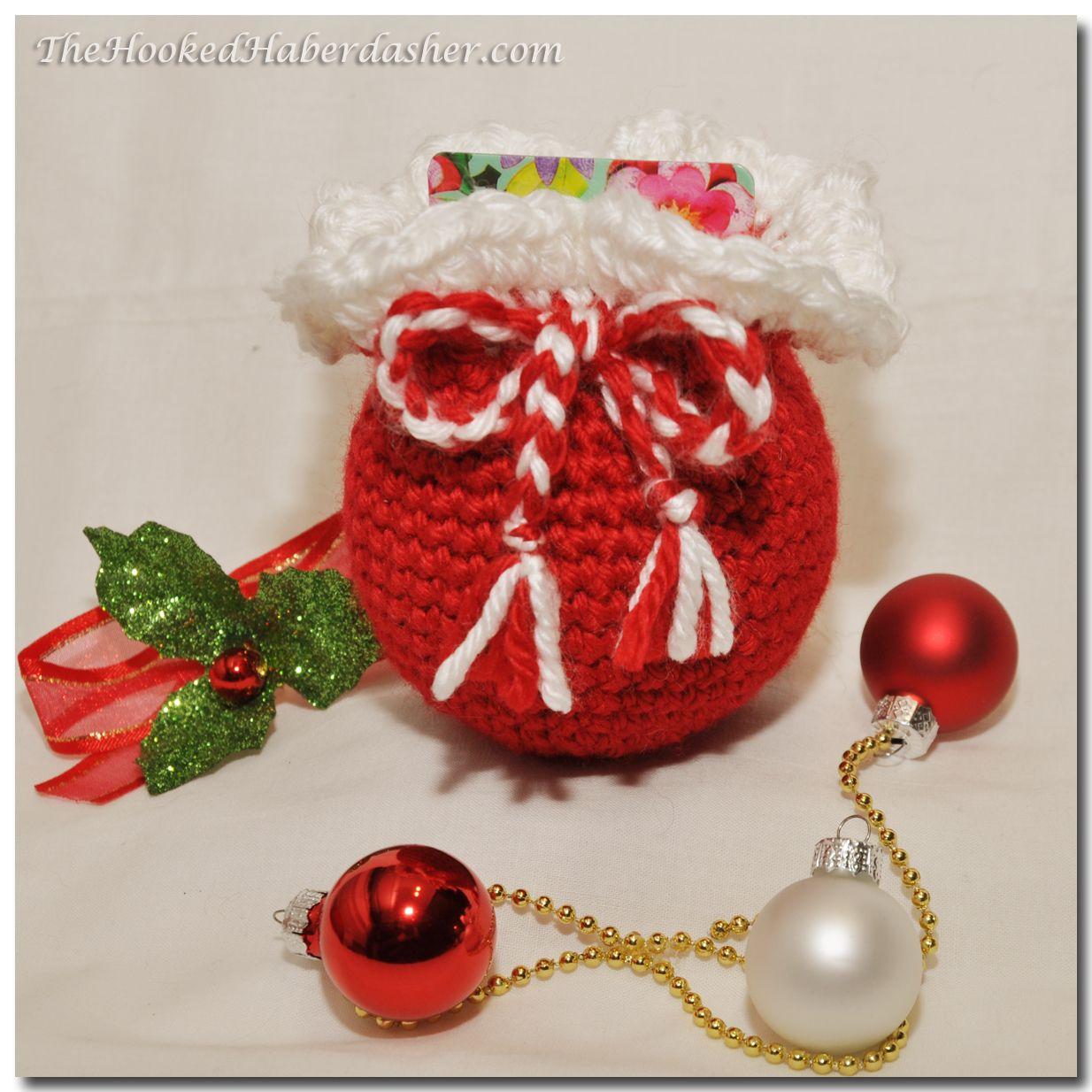 Free santas sack gift card holder ornament2 crochet gift card santa gift bag ornament by the hooked haberdasher bankloansurffo Gallery
