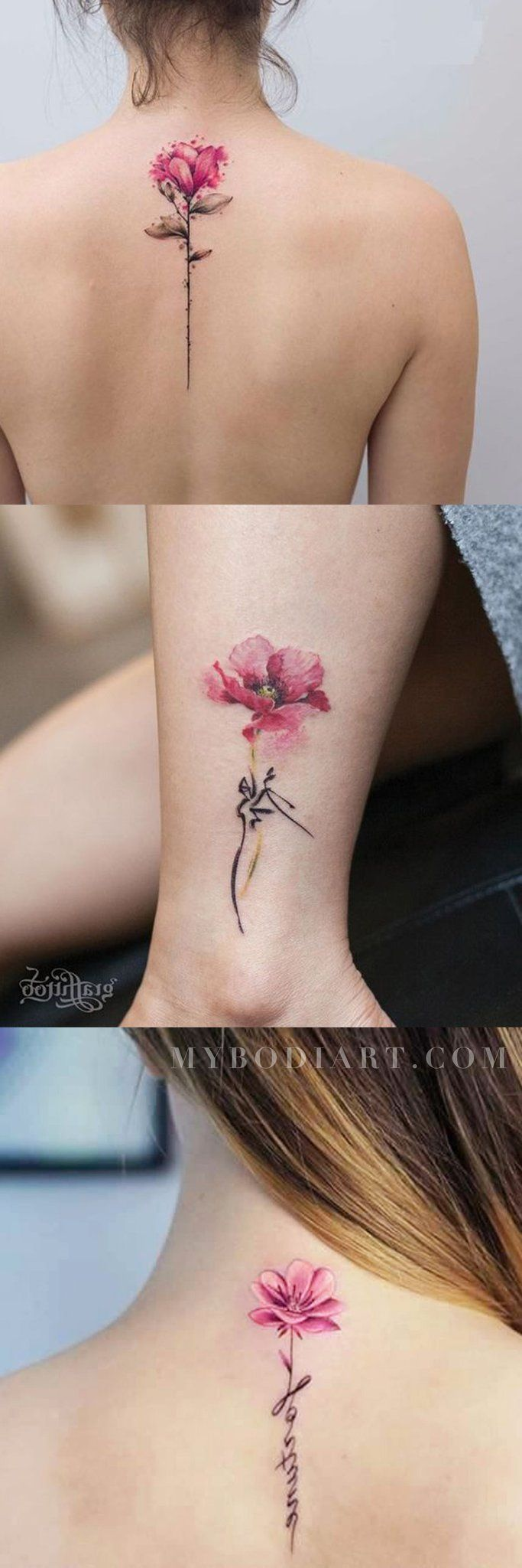 Beautiful Watercolor Rose Script Quote Spine Back Ankle Tattoo Ideas for Women - www.MyBodiArt ...