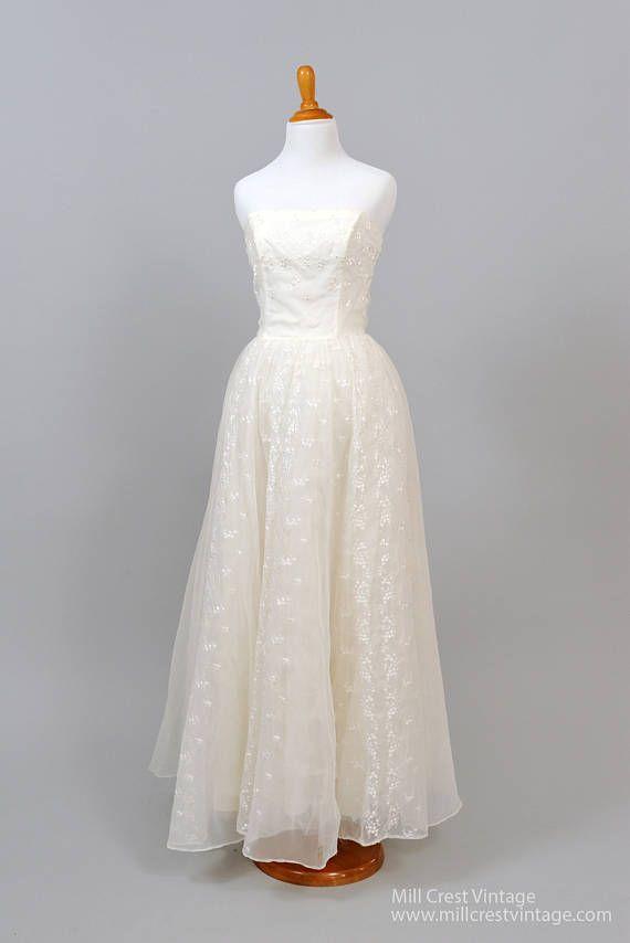 Strapless Flocked Vintage Wedding Gown