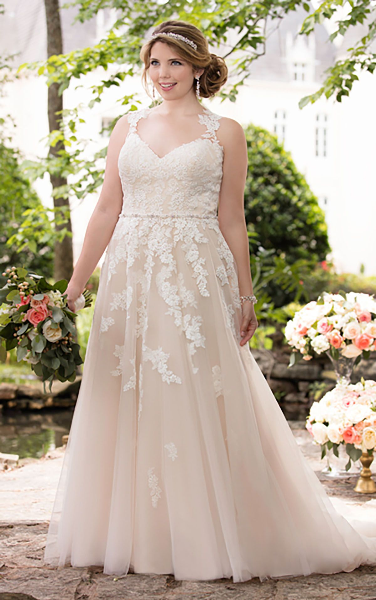 Lace illusion back wedding dress stella york bodice and romantic