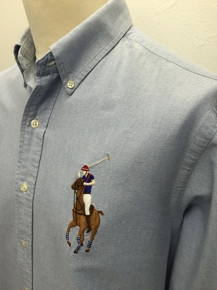 £33 Polo #RalphLauren #Mens  Big Pony #Shirt Large Custom Fit Blue #Oxford Cotton #menswear #mensfashion #mensstyle #triedandtested