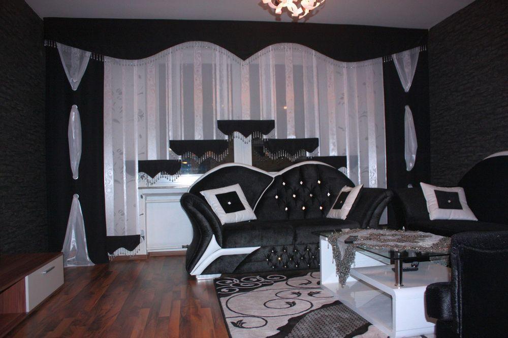 Gardinen Dortmund designer gardine maßgefertigt modern schwarz weiß schiebegardine