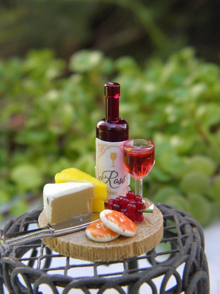 Miniature Dollhouse FAIRY GARDEN Accessories ~ Tiny Wine /& Cheese Board ~ NEW