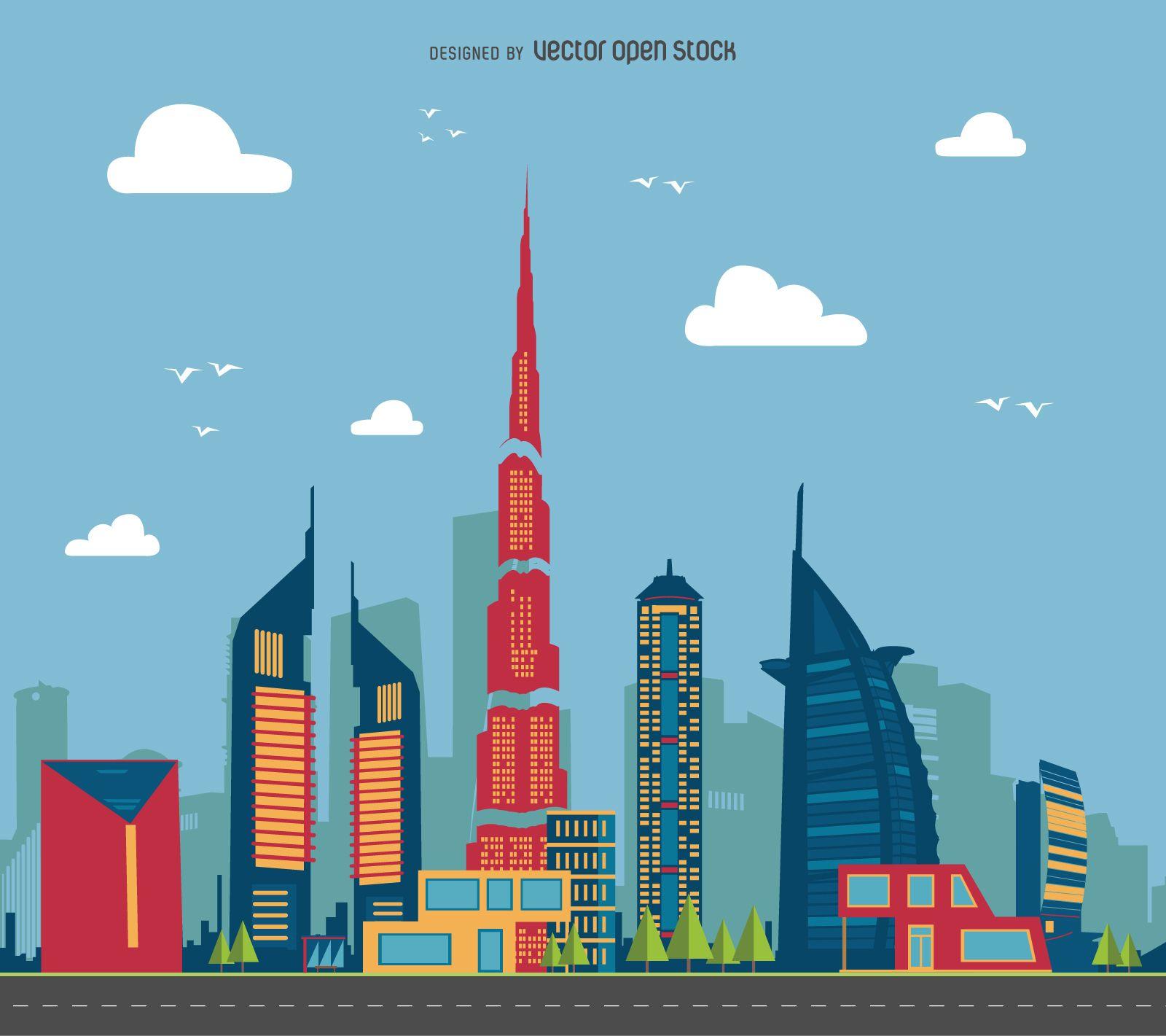 Dubai Cityscape Illustration Cityscape City Landscape Illustration