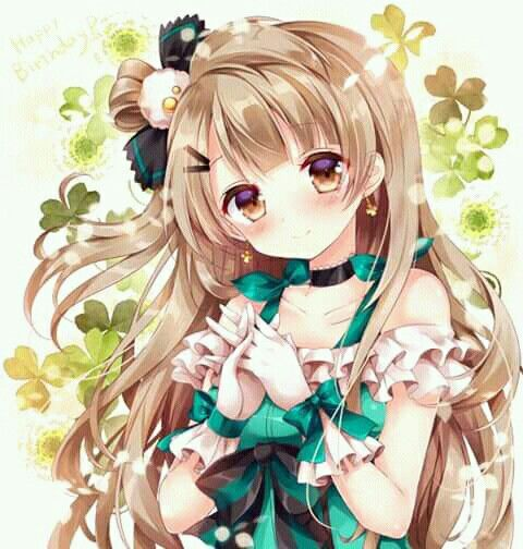Anime Art Blonde Hair Hazel Eyes Green Outfit Ruffles