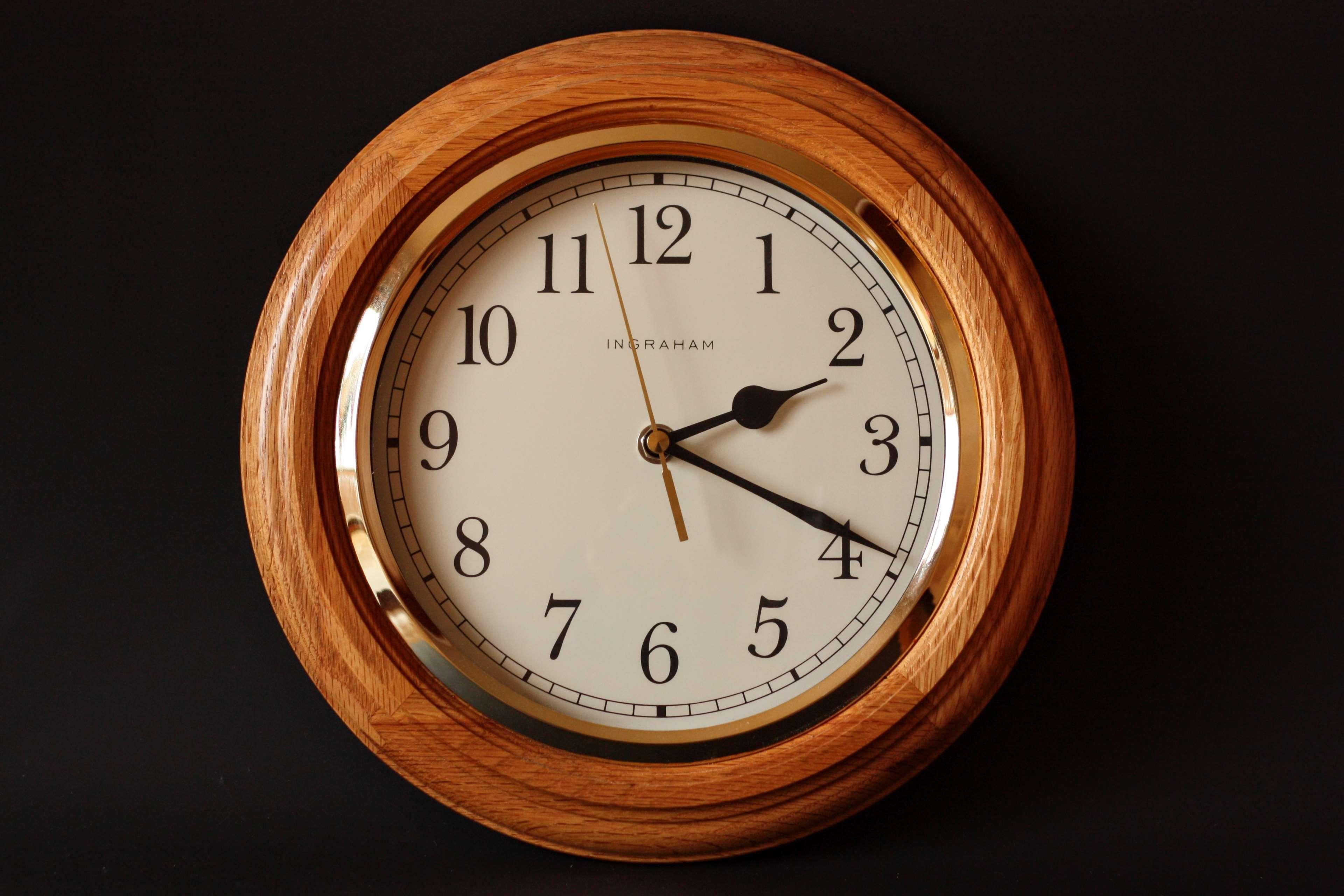 Alarm Clock Classic Clock Dial Gold Ingraham Late Minute Noon Number Precision Quartz Time Timer Wall Wall Clock Watch Wooden Clock Hd wallpaper alarm clock dial time