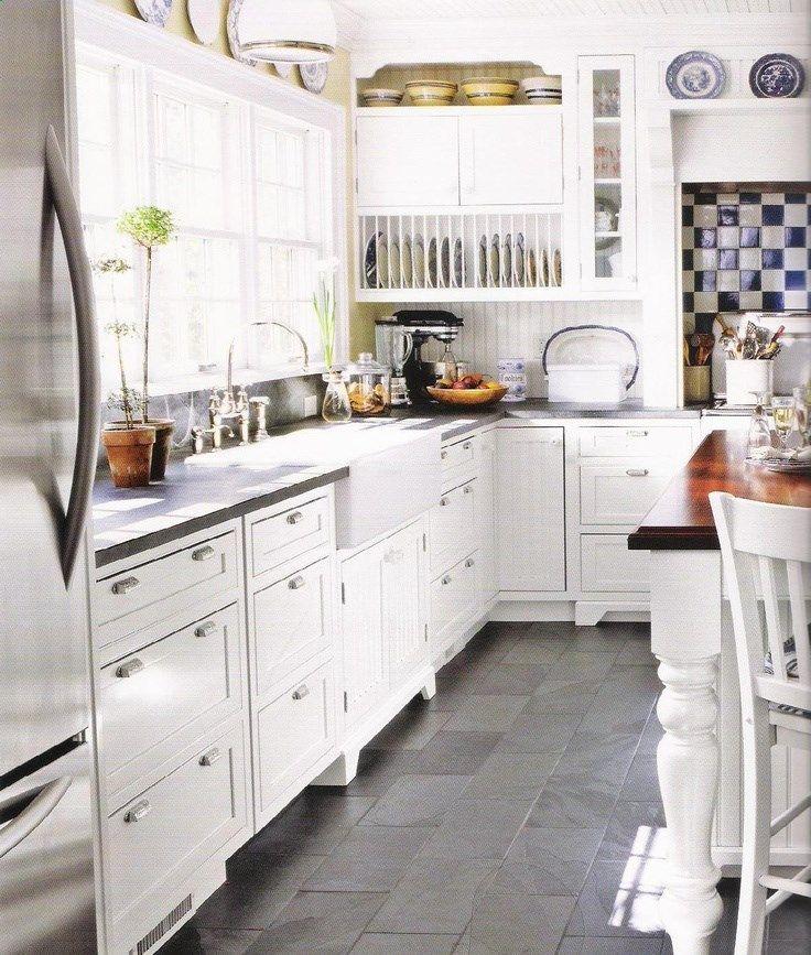 Slatelooking floor. Gray matte counter top. Slate floor