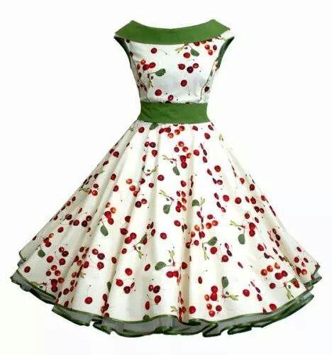 50er Petticoatkleid Creme Grun Rot Kirschen Vintage Kleider Kleider 50er 50 Jahre Kleider