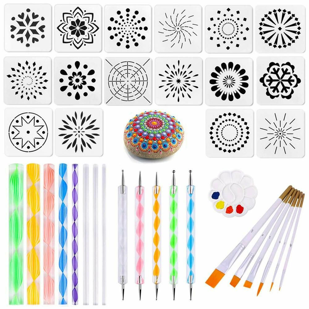 Set 16Pcs Mandala Dotting Tools with Stencil Brush Set Rock Painting Pen DIY New