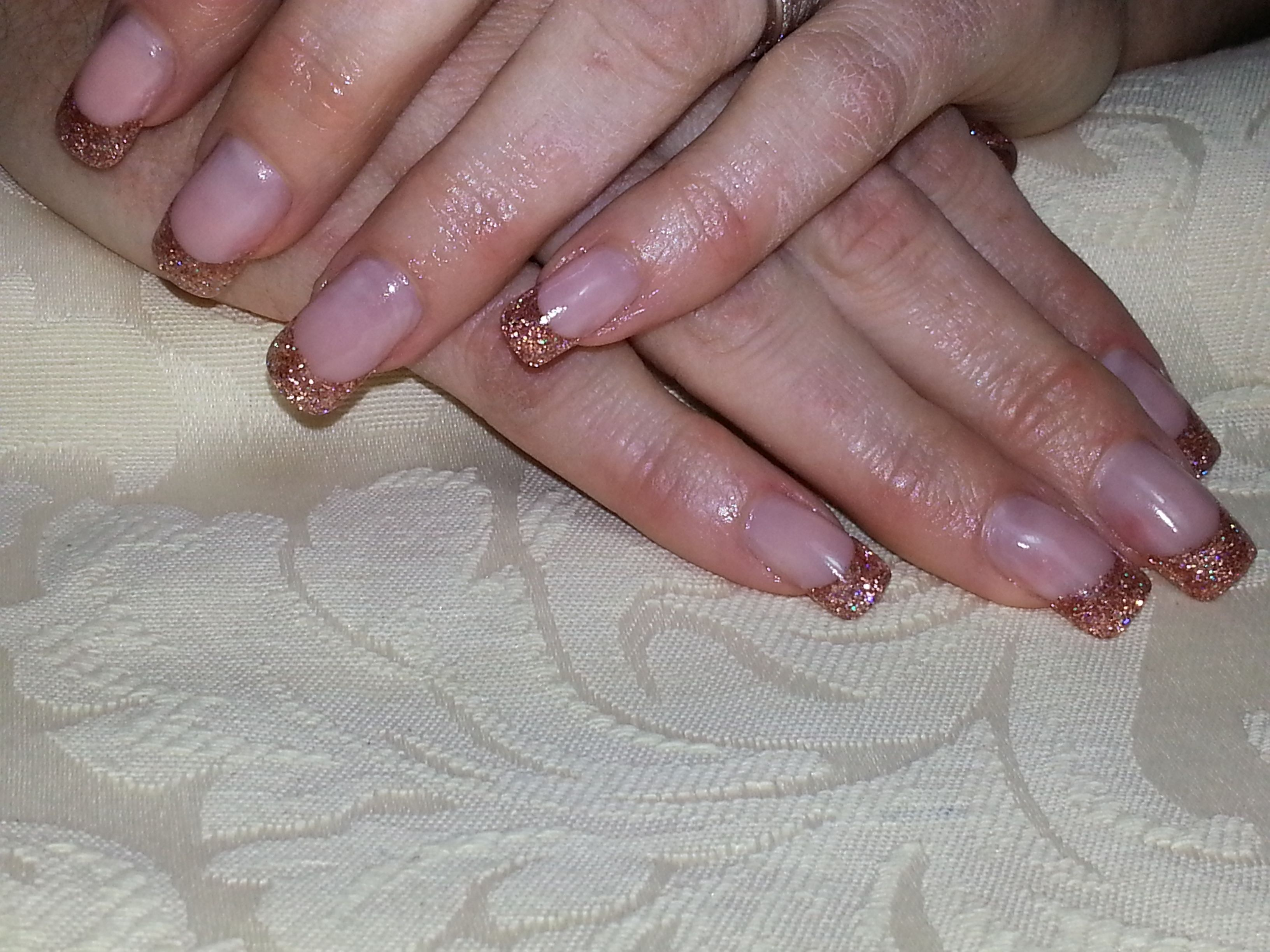 Gel & Acrylic French - Extended nail beds with custom mixed acrylic ...