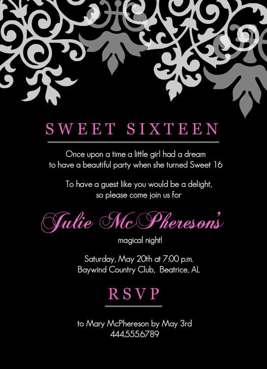 Black and pink flourish sweet 16 birthday invitations by purpletrail but you can find stylish cheap teen birthday invitations that will be a hit find inspiration with our teen birthday party invitation wording stopboris Images
