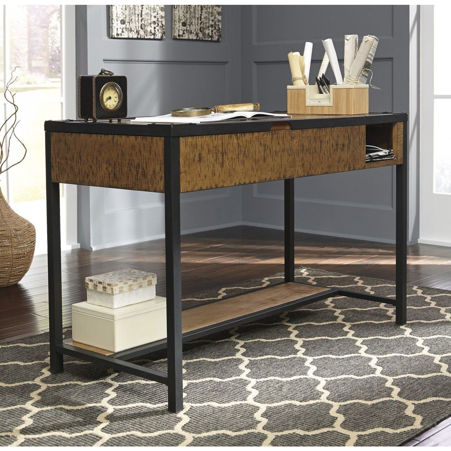 Ashley Furniture Kalean Home fice Lift Top Desk in Two Tone