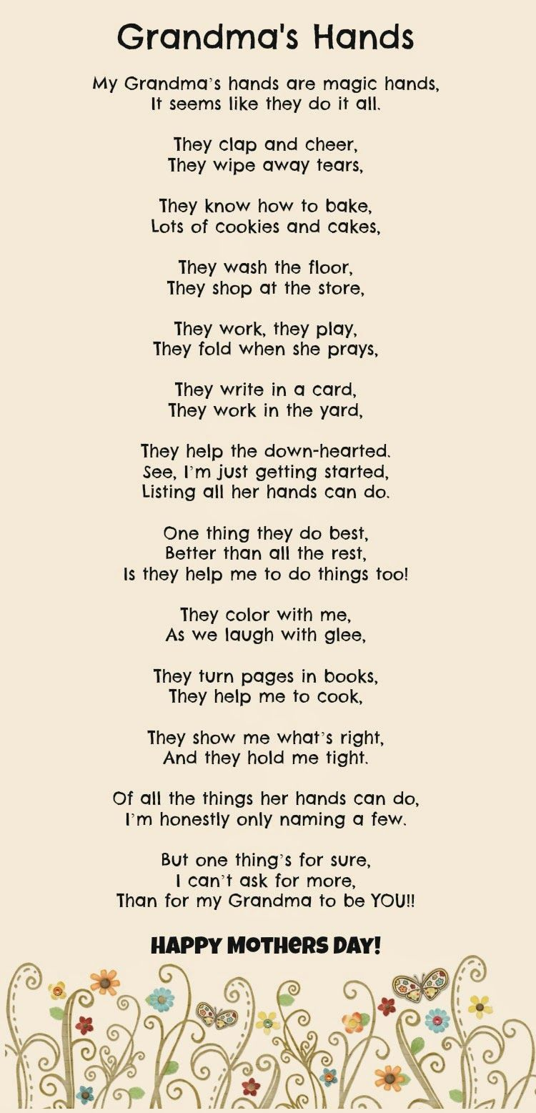 My Grandma S Hands Mother S Day Gift Mothers Day Poems Grandmas Mothers Day Gifts Mother S Day Diy