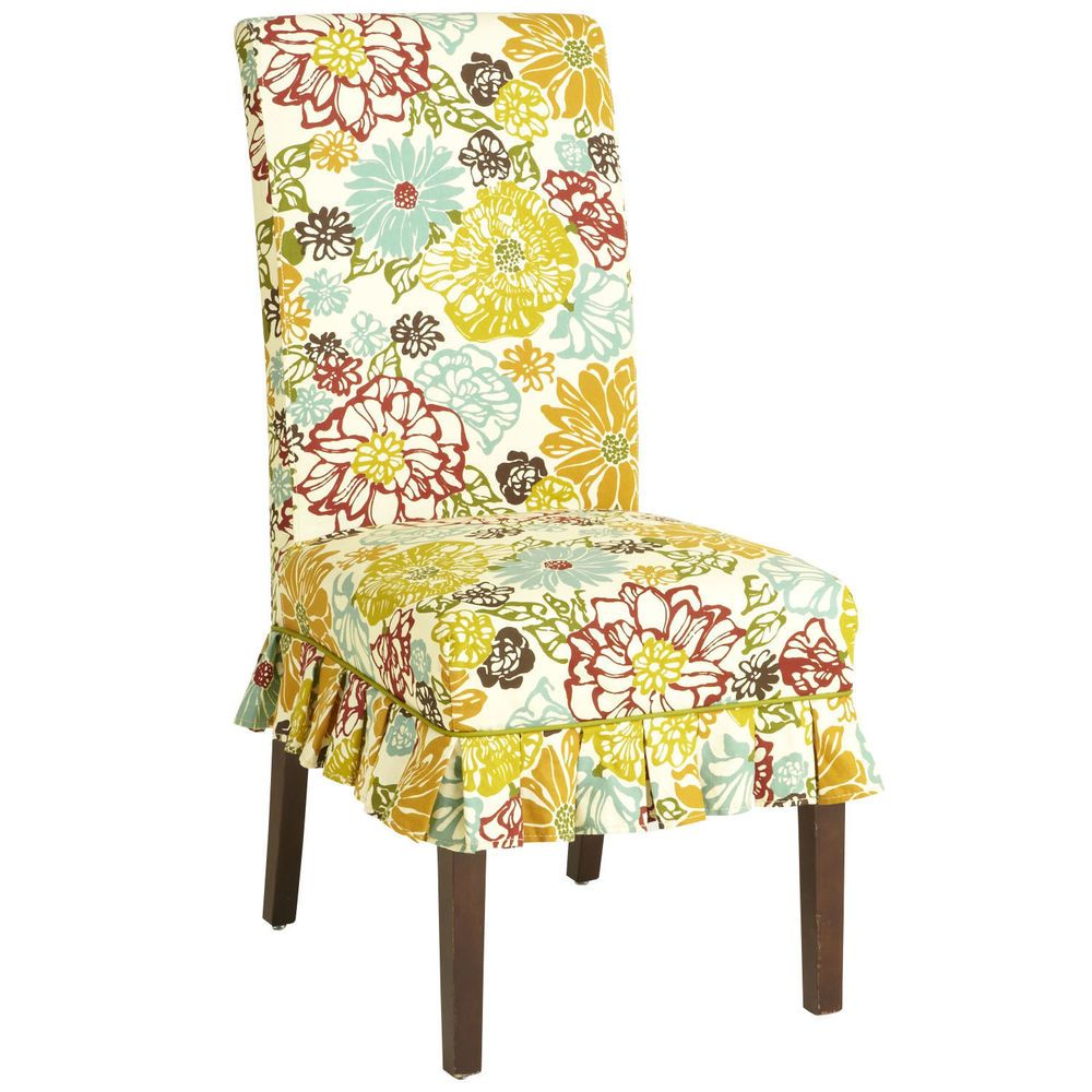Pier 1 Set Of 4 Dana Slipcovers Fresh Floral Pattern Dining Chair Parson Pier1