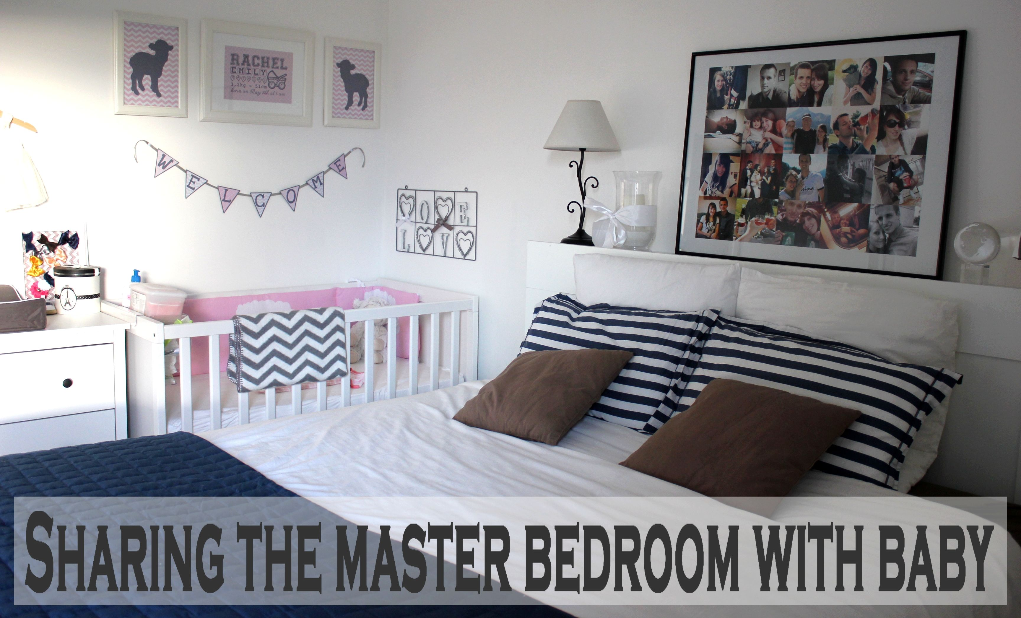 Sharing The Master Bedroom With Baby Navy Blue And Pink And Grey Chevron Lamb Nursery