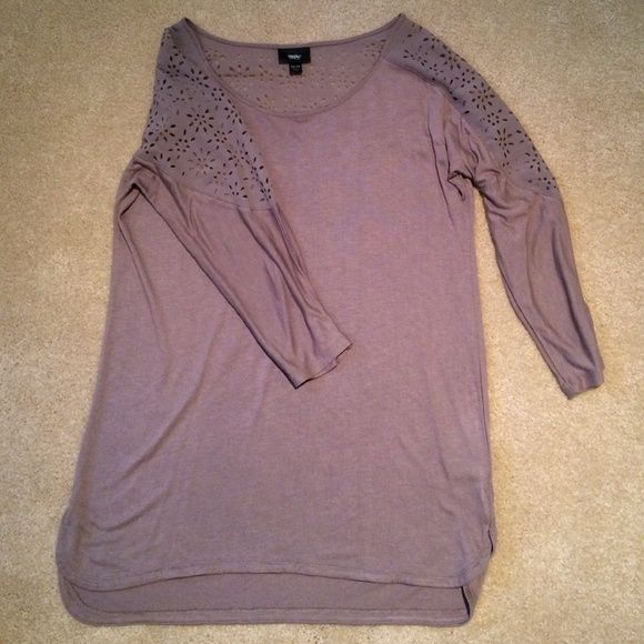 Floral Sleeve Top Mossimo Light brown hi lo 3/4 sleeve top with floral cut out on sleeves and upper back portion. Size is XS but fits more like a Small. In great condition. Mossimo Supply Co. Tops