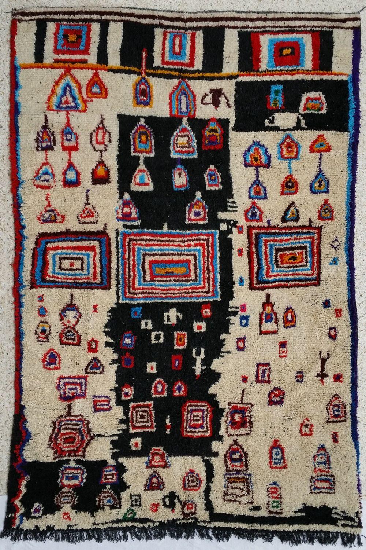 11.5X7.5 feet Handmade Multicolor & Ivory moroccan rug Beni Ouarain 100% Wool by MoroccanTribal on Etsy
