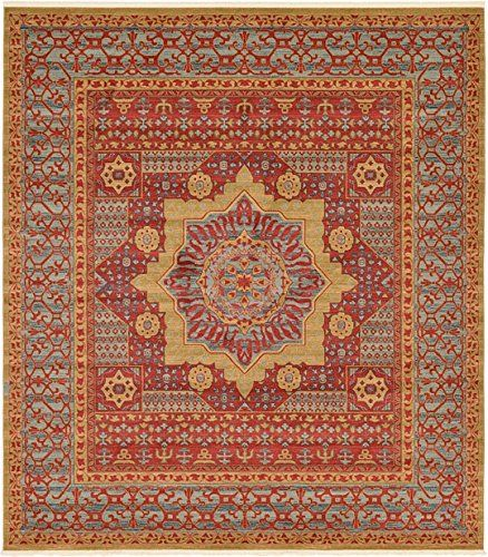 Unique Loom Palace Collection Red 10 Ft Square Area Rug 10 X 11 4
