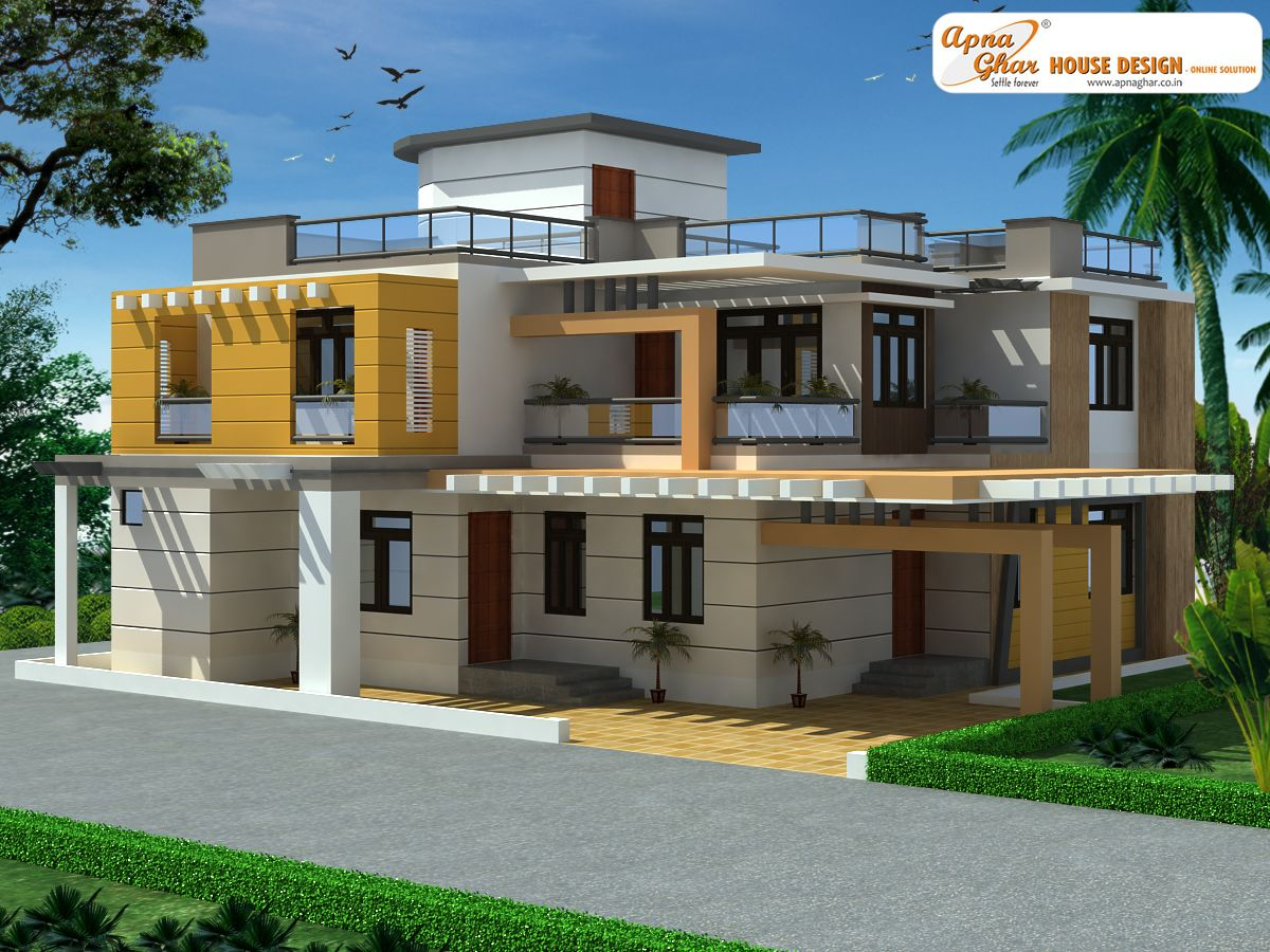 5 bedrooms duplex house design in 289m2 17m x 17m click for Free indian duplex house plans