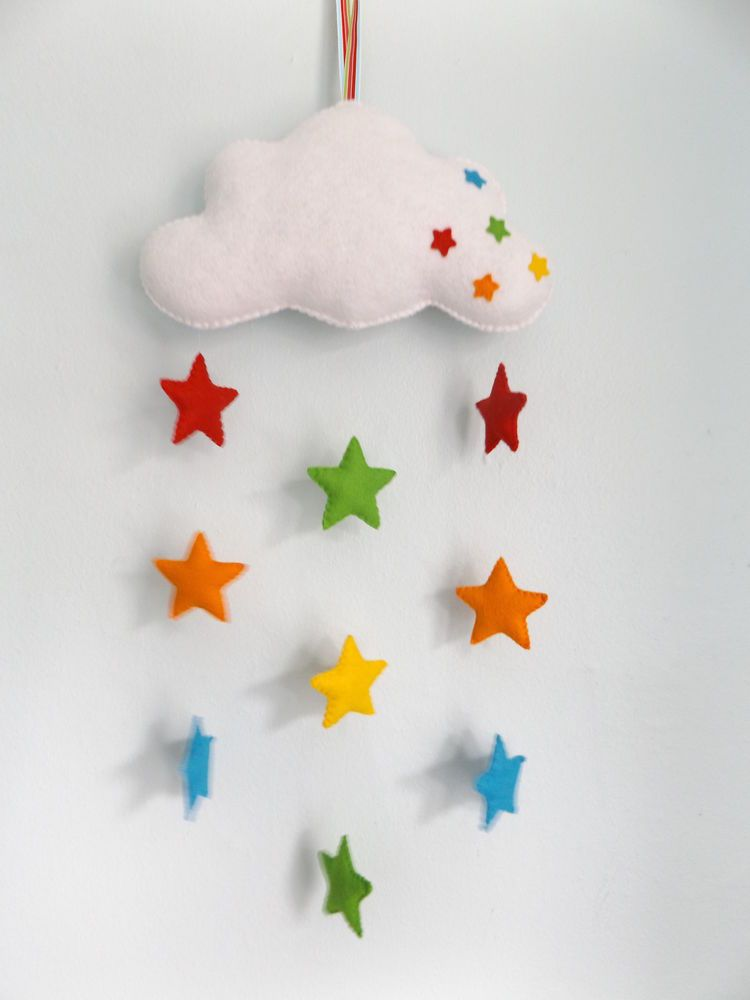 Handmade Felt Baby Mobile Cloud And Rainbow Stars Nursery Decor Gift Ebay