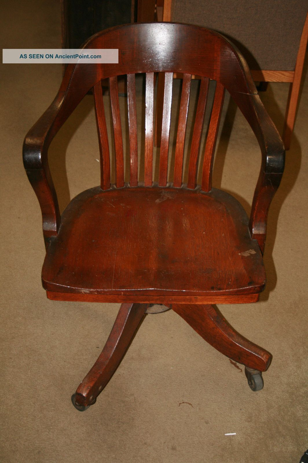 Vintage Antique Oak Desk Chair Lawyer Office Sheybogan Crocker Co.  1900-1950 photo - Vintage Antique Oak Desk Chair Lawyer Office Sheybogan Crocker Co
