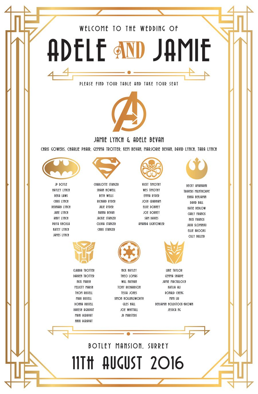 gatsby superhero wedding table seating plan http://www.wedfest.co ...