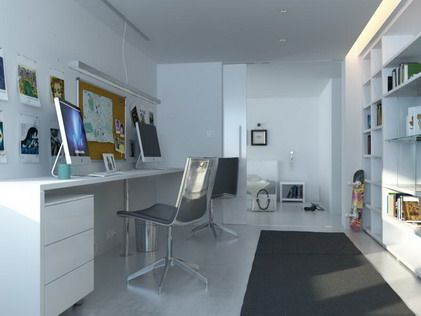 Charmant White Themes And Modern Decorating In Small Home Office Space Design