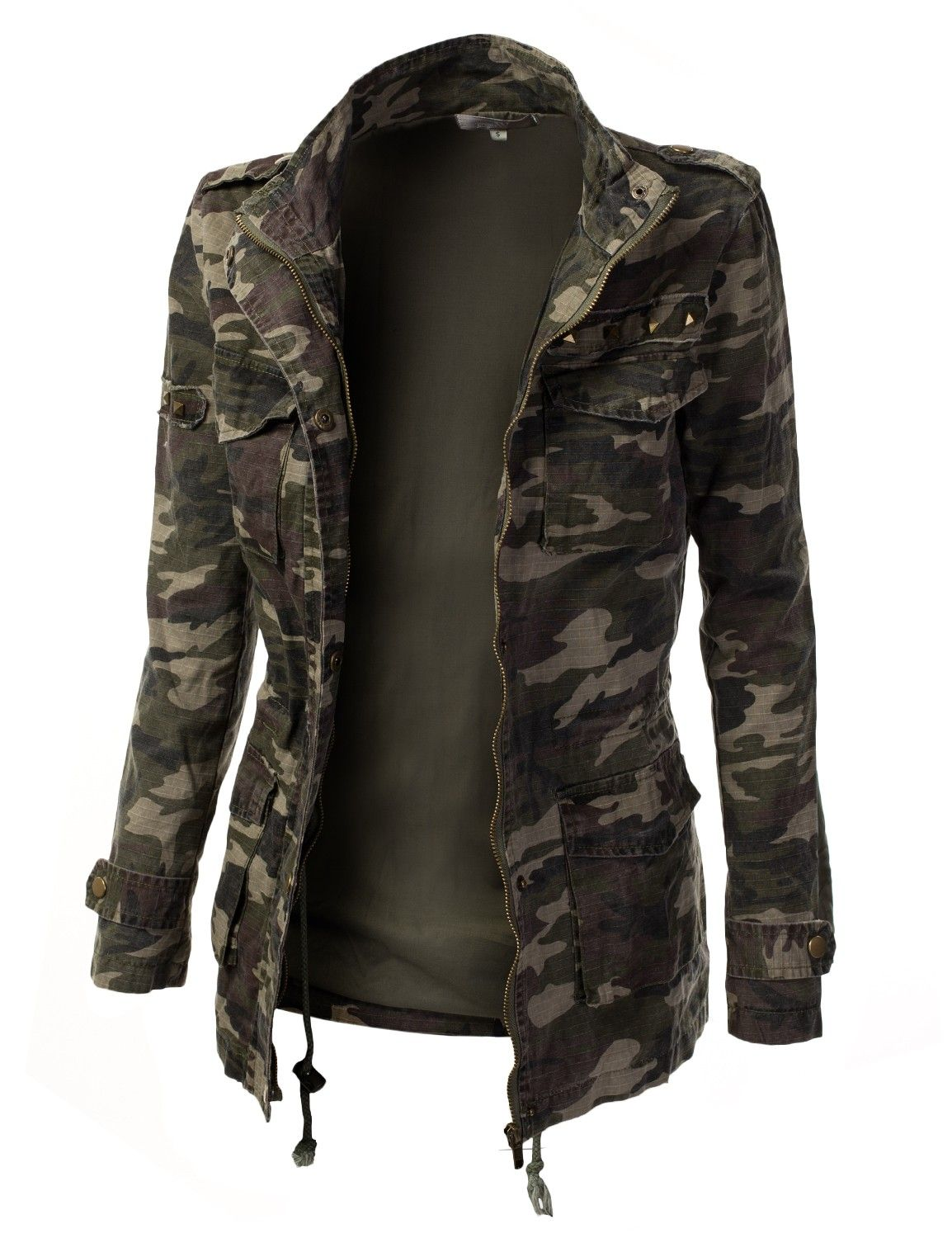 Womens Military Jacket | Home Womens Trendy Camo Military Jacket With Studs | My Style ...