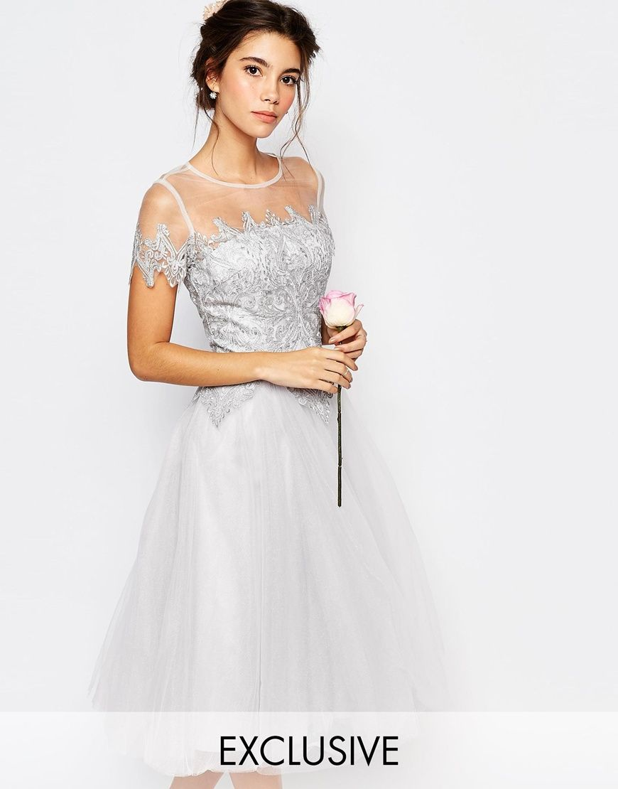 But long dress instead image of chi chi london tulle lace midi