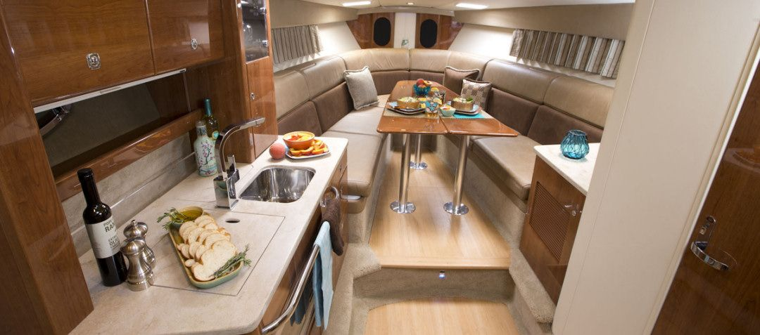 Formula 370 Super Sport: The deep bourbon cherry wood finish in the galley and throughout the cabin.