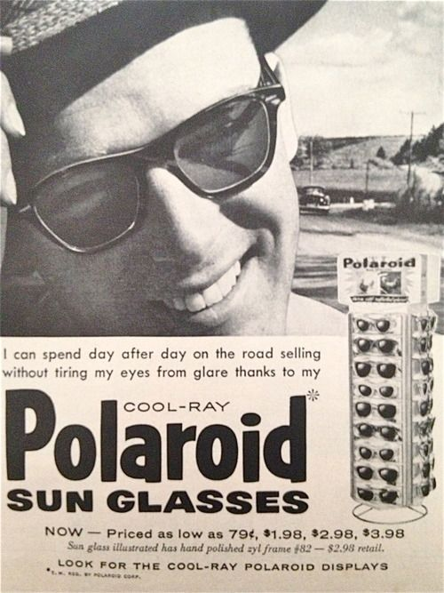 Polaroid sunglasses, 1956 http://sunglassesolstore.tumblr.com/8XI72O Just bought the same floral sunglasses at Payless for only 24 dollors!