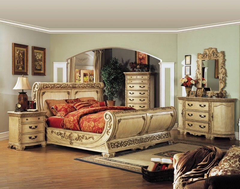 Sensational Whitewash Intricately Carved Queen Sleigh Bed