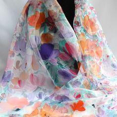 13b1890501ba Etole écharpe foulard en mousseline de soie peint main fleuri