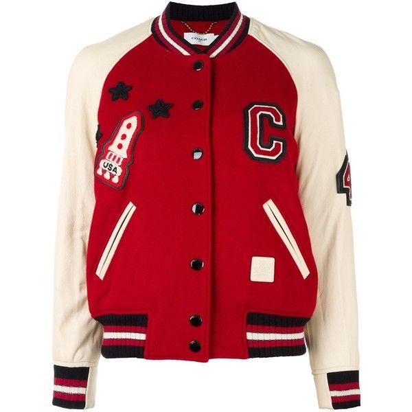 Coach varsity bomber jacket ($578) ❤ liked on Polyvore