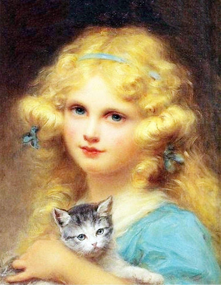 Blond Girl with a Kitten  by Emile Vernon