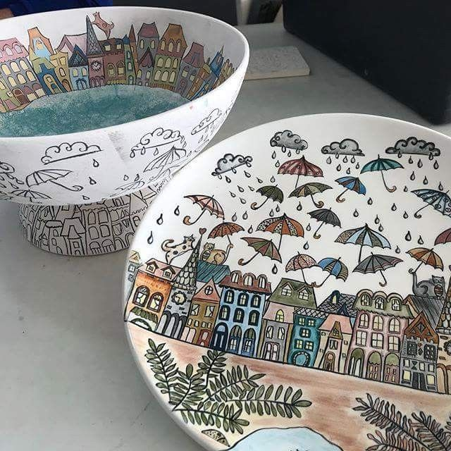 Cute plates and pots and u can make some of these with kids too!!! #paintyourownpottery