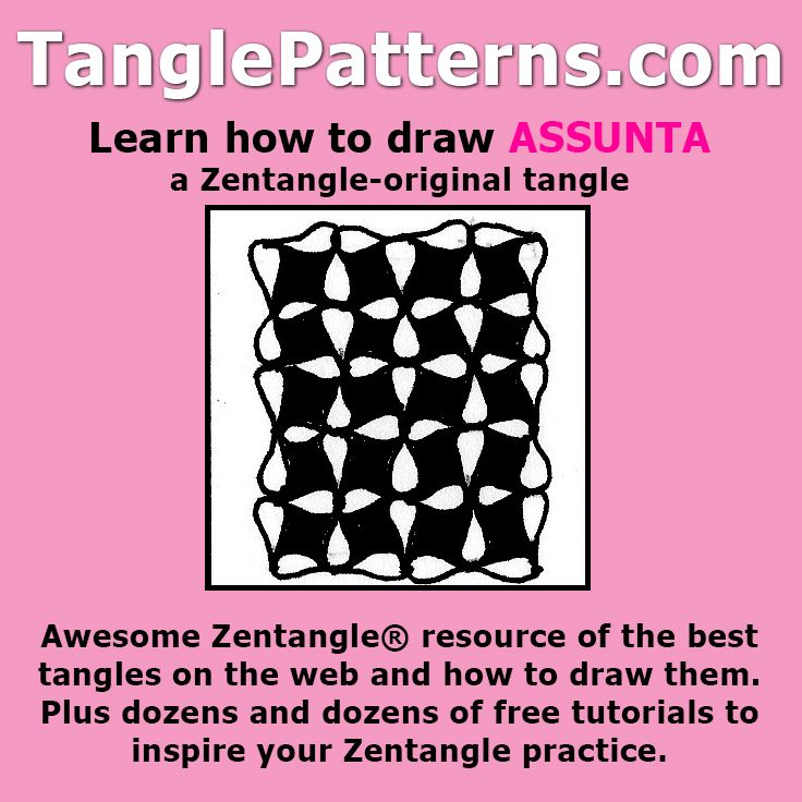 Step-by-step instructions to learn how to draw the Zentangle-original tangle pattern: Assunta