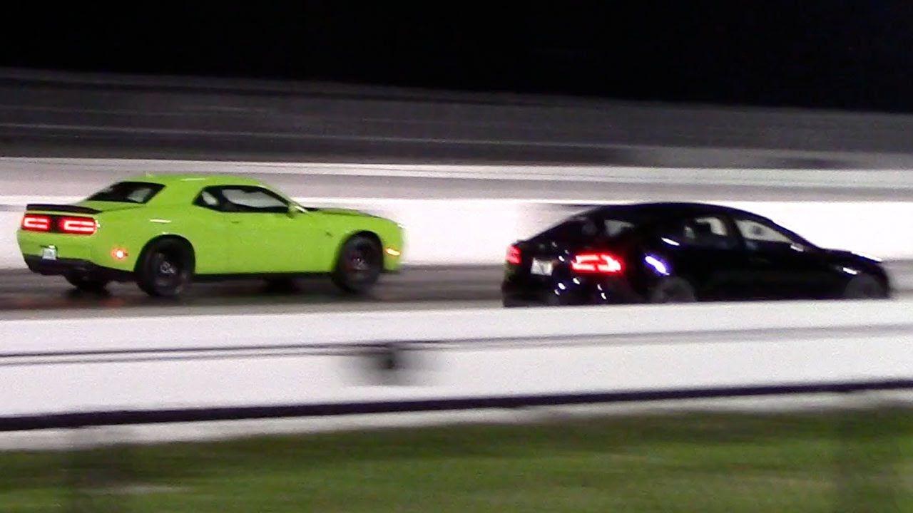 dodge hellcat demon vs tesla Tesla Model S P85D vs Dodge Challenger Hellcat 1/4 Mile