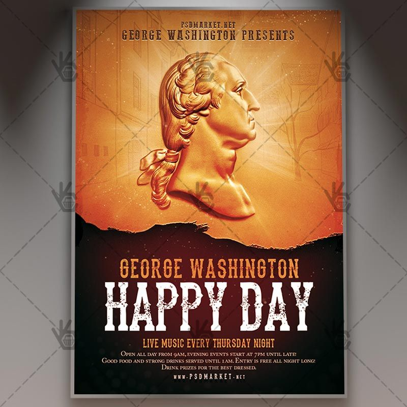 free american flag flyer template george washington day american flyer psd template