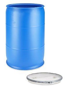55 Gallon Blue Open Top Plastic Drum with Lid by ULINE  $77 00