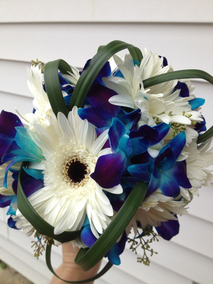 Blue orchid gerber daisies orchid bouquet wedding